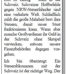 Kommentaranzeige Steuerabkommen mit der Schweiz