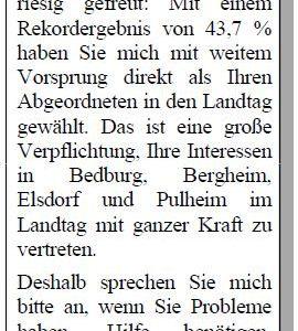 Anzeige in der Sonntags-Post vom 19.05.2012
