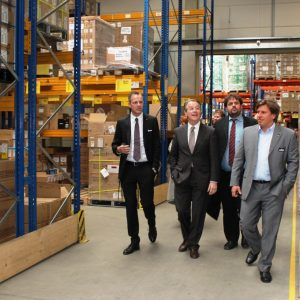 Björn Siewert (li.) und Holger Kau (re.) begleiten Franz Müntefering MdB sowie den SPD-Kreisvorsitzenden Rhein-Erft Guido van den Berg