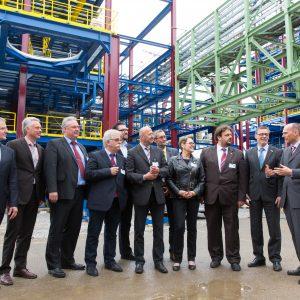 SPD-AK Chemie besicht die Baustelle der TDI Anlage im Chemiepark Dormagen