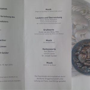 Rheinlandtaler für Herrn Barbier, Herrn Lieven und Herrn Dr. Sander am 18.04.2016