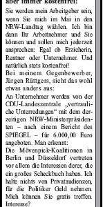 Anzeige in der Sonntags-Post vom 27.02.2010