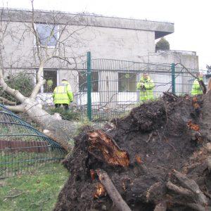 Sturmschaden am Fritz-Erler-Haus in Erftstadt